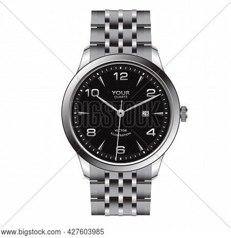Realistic Silver Watch Clock Dark Grey Face Design For Men Fashion On White Background Vector Illust