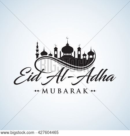 Eid Al-adha Handwriting. Eid Al-fitr. Hand Drawn Modern Vector Calligraphy With Mosque Isolated On W