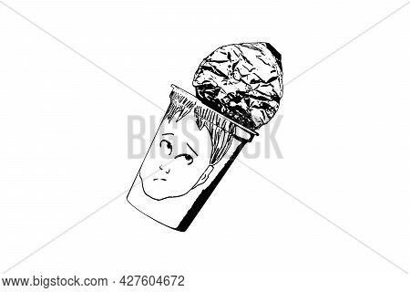 An Empty Cup Of Yogurt With Face Drawn On White Background. White Plastic Cup With Foil Lid. Hand-dr