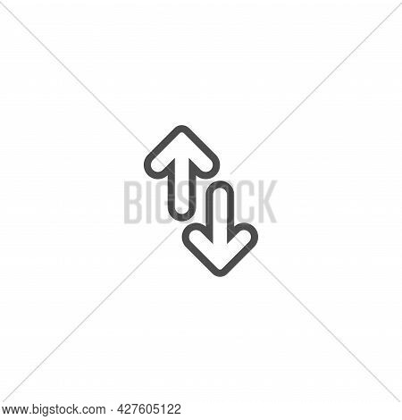 Flip Vertical Vector Icon. Two Line Opposite Arrows Isolated On White. Flat Exchange Icon. Flip Flop