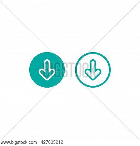 Blue Rounded Arrow Down Set. Flat Download Icons Isolated On White. Point Down Button. South Sign.