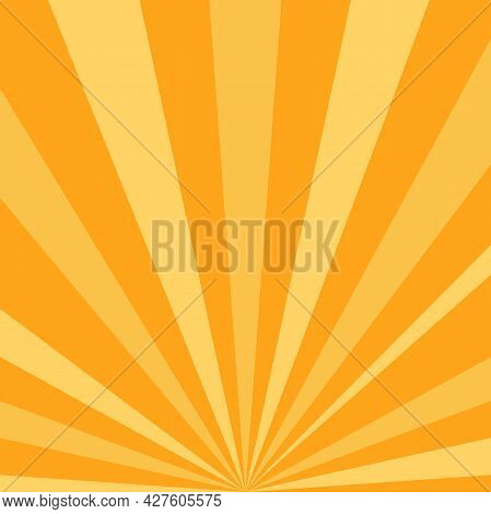 Sunlight Rays Background. Bright Orange Color Burst Background. Vector Illustration. Sun Beam Ray Su