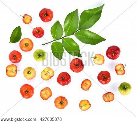 Top View Of Cherry And Green Leaf Isolated On White Background