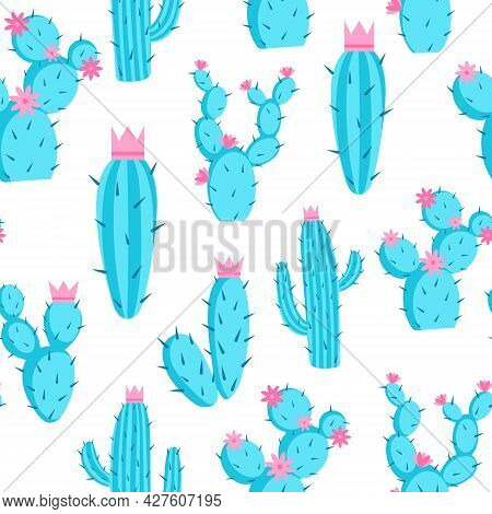 Pattern Of Azure Cacti With Flowers And Crowns, Vector Illustration. Seamless Background With Prickl