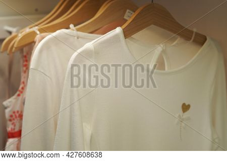 Wardrobe With Things. Children's Clothing In The Wardrobe
