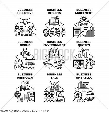 Business Research Set Icons Vector Illustrations. Business Research Results And Agreement, Group Tal