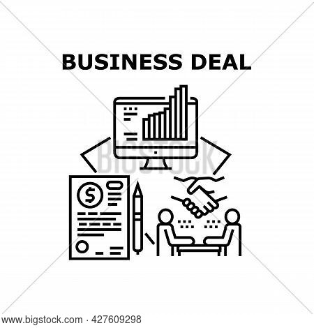 Business Deal Vector Icon Concept. Success Business Deal And Agreement Signing Businessman With Part