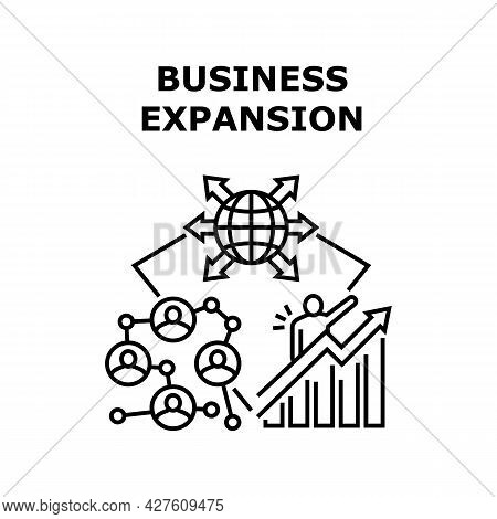 Business Expansion In World Vector Icon Concept. Business Expansion In World, Enterprise Opening Bra