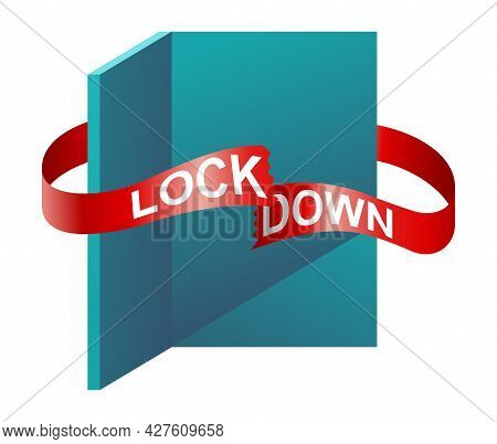 We Are Open Again. Reopening After Lockdown Announcement. Cutted Red Tape And Open Door. Isolated Ve