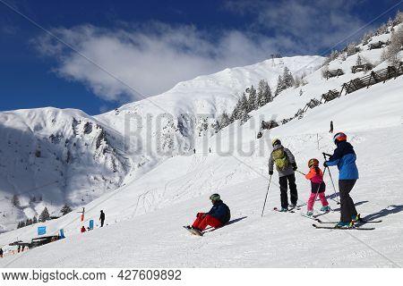 Mayrhofen, Austria - March 12, 2019: People Visit Mayrhofen Ski Resort In Tyrol Region, Austria. The
