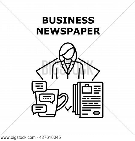 Business Newspaper Reading Vector Icon Concept. Business Newspaper Reading Financial And Market News