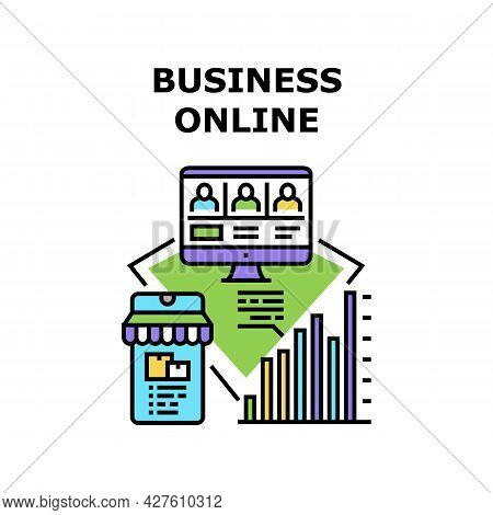 Business Online Vector Icon Concept. Commerce Shop Business Online And Conference With Team, E-comme
