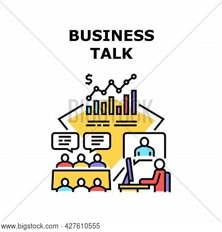 Business Talk Vector Icon Concept. Online Business Talk With Colleague Or Partner And Discussion Pro