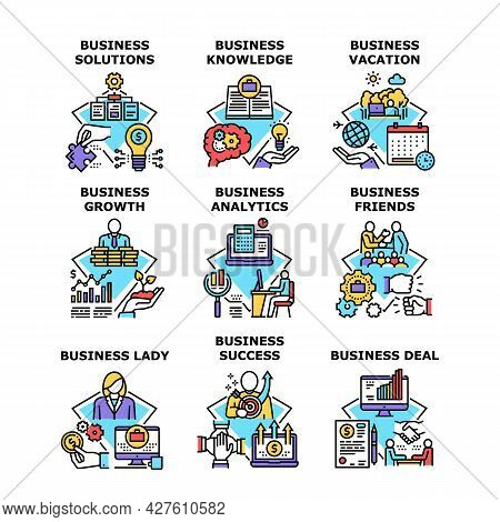 Business Knowledge Set Icons Vector Illustrations. Business Knowledge And Success Solutions, Busines