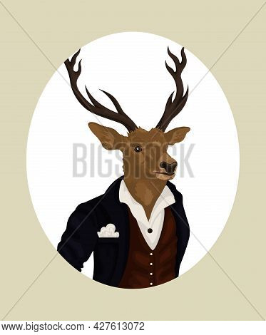 People Art Animal Deer, Character Portrait Animal In Cloth Fashion. Hipster Animal