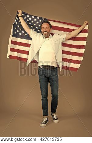 National Independence. Happy Man Celebrate Independence Day. Happy Citizen Hold American Flag. Indep