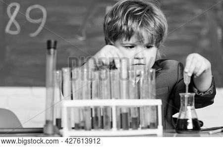 Biology Science. School Kid Scientist Studying Science. Little Boy Is Making Science Experiments. Sc