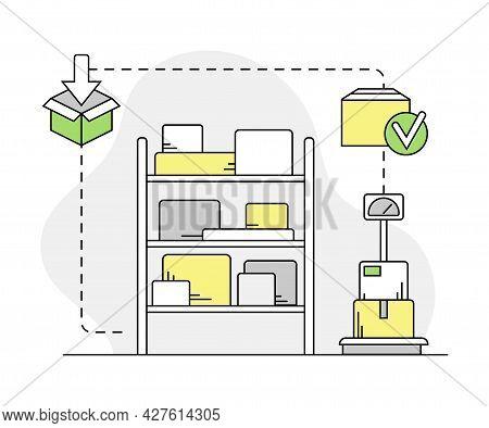 Furniture Items Rested On Rack Shelf In Warehouse Line Vector Illustration
