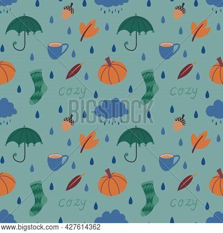 Cute Autumn Seamless Pattern With Hand Drawn Umbrella, Rain Cloud, Autumn Leaves, Warm Socks, Rain D