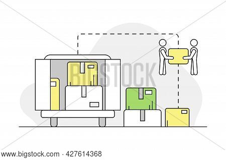 Furniture Items Delivery And Shipment With Lorry And Cardboard Box Line Vector Illustration