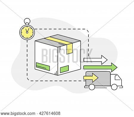 Furniture Buying With Lorry For Express Delivery And Packed Cardboard Box Line Vector Illustration