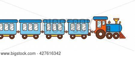 Cute Blue Train Banner. Locomotive Toy Train