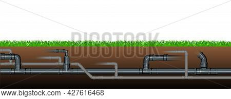 Pipeline For Various Purposes. Underground Part Of System. Abstract Isolated Illustration Vector