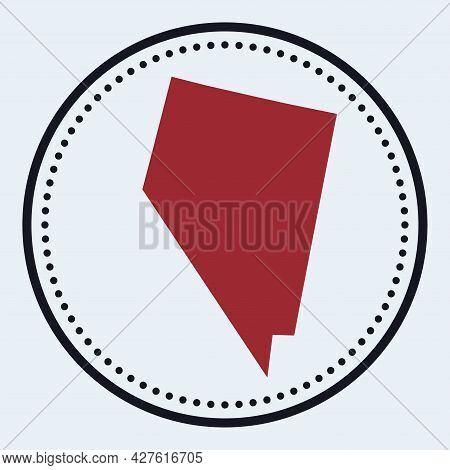 Nevada Round Stamp. Round Logo With Us State Map And Title. Stylish Minimal Nevada Badge With Map. V