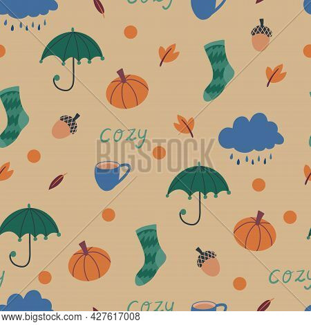 Cute Autumn Seamless Pattern With Hand Drawn Umbrella, Rain Cloud, Autumn Leaves, Warm Socks, Dots,