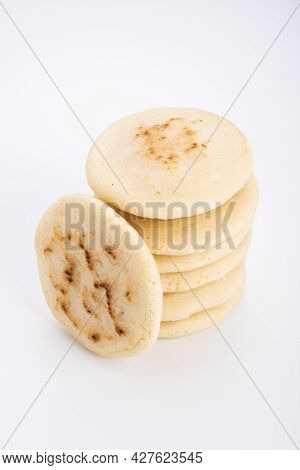 Stack Of Arepas Made With Corn Flour On A White Background, Typical Latin American Food