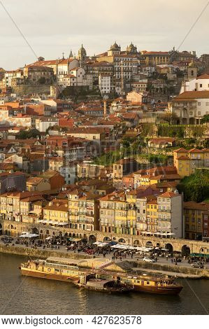 Porto, Portugal - November 30, 2019: View Of The A Ribeira And The City Of Porto At Sunset Since Lui