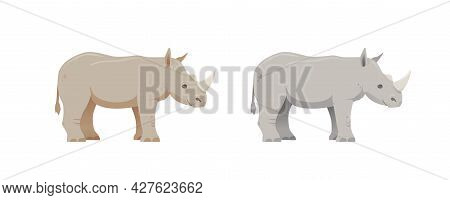 Brown And Gray Rhino In Cartoon Style. Happy Friendly Rhinoceros. Wild Animal. Isolated Cute Childre