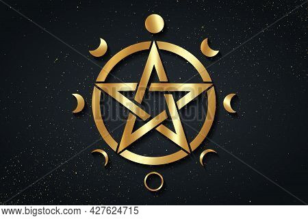 Gold Pentacle Circle Symbol And Phases Of The Moon. Wiccan Symbol, Full Moon, Waning, Waxing, First