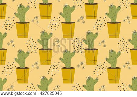 Seamless Pattern With Cactus. Cactus In A Pot, Domestic Plant With Thorns, Needles And Flowers. Vect