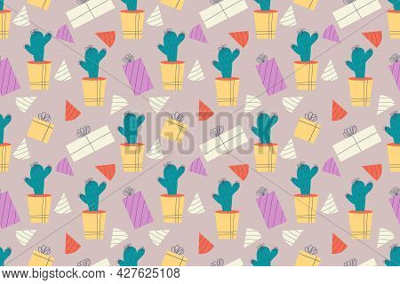 Seamless Pattern With Cactus, Gifts And Birthday Cap. Cactus In Pot, Domestic Plant With Thorns, Nee