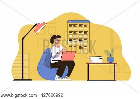 Outsourcing Service Concept. Woman Employee Performs Work In Remote Office Situation. Project Work,