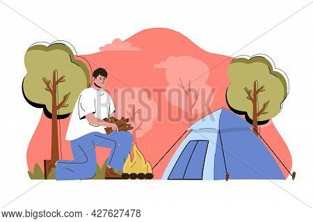 Rest At Nature Concept. Man Resting In Forest With Tent Situation. Hiking, Camping, Active Outdoor R