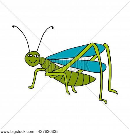 Cute Cartoon Doodle Happy Grasshopper Isolated On White Background. Summer Insect, Wild Animal.