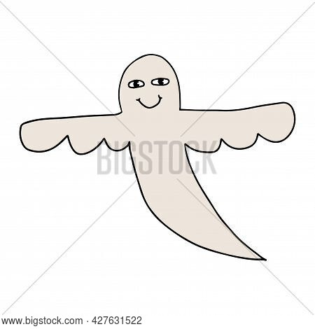 Cartoon Doodle Happy Ghost Isolated On White Background. Halloween Party Icon.