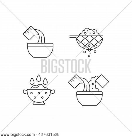 Food Preparation Instruction Linear Icons Set. Sift Ingredient. Rinsing Rice. Cooking Process Steps.