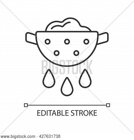 Drain Food Linear Icon. Rinsing Pasta From Water. Product In Colander With Pouring Grease. Thin Line