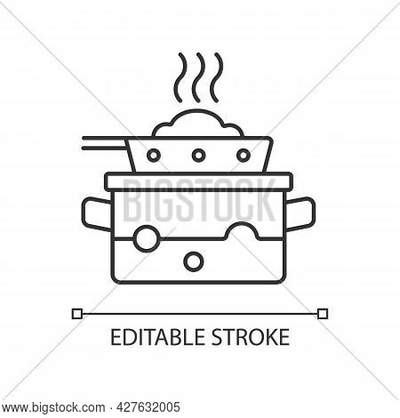 Steam For Cooking Linear Icon. Boil Water In Pot To Cook Meal On Pan. Dinner Recipe. Thin Line Custo