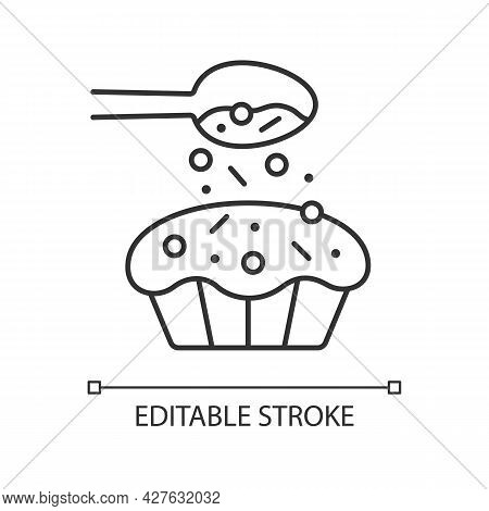 Sprinkle For Baking Linear Icon. Pouring Topping From Spoon On Cupcake. Dessert Recipe. Thin Line Cu
