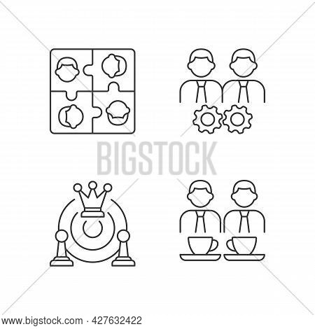 Office Members Interaction Linear Icons Set. Approach Goal Together. Employees Meeting And Team Buil