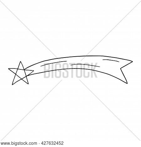 Cute Cartoon Falling Star In Doodle Style Isolated On White Background. Celestial Shape, Comet Logo,