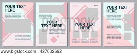Pink Feminine Brochure Template. Business Blank. Flyer, Booklet, Leaflet Print, Cover Design With Co