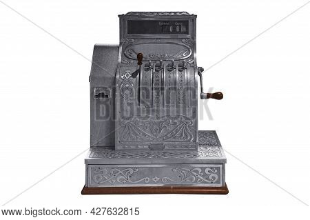 Old Vintage Cash Register Isolated On White Background Work With Clipping Path. Cash Register Image,