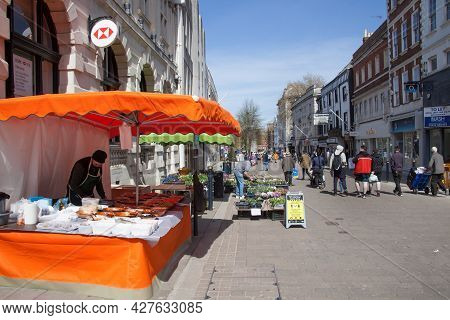 Street Vendors In Gloucester Selling Olives And Flowers In The Uk, Taken On The 24th Of April 2021