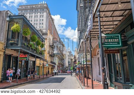 New Orleans, La - July 22: Bourbon Street In The French Quarter Facing Downtown On July 22, 2021 In