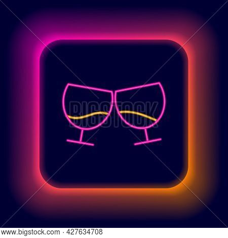 Glowing Neon Line Glass Of Cognac Or Brandy Icon Isolated On Black Background. Colorful Outline Conc